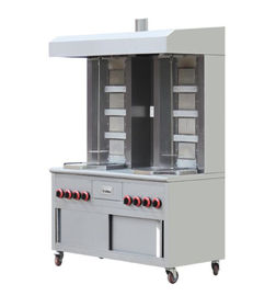 China Movable Gas Shawarma Kebab Machine 2 * 4 Burners 220V With Rolling Wheels factory